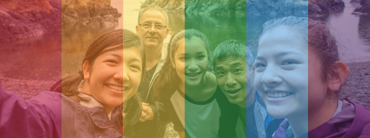Image of family with rainbow colors overlaid